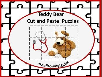 Teddy Bear themed Cut and Paste Puzzles. These 14 cut and paste puzzles will help students in preschool, kindergarten, special Ed, and autistic classrooms develop problem solving skills, fine motor skills, and hand eye coordination. These printable Teddy Bear