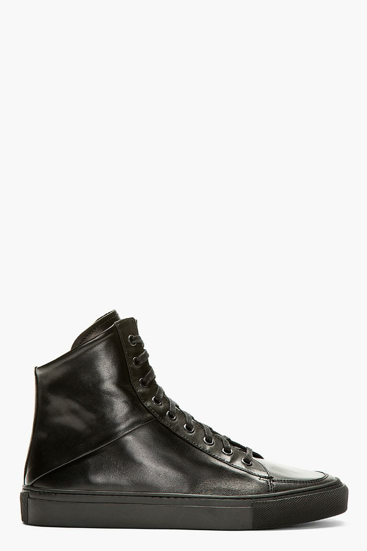 SILENT BY DAMIR DOMA Black Leather Angled Throat High-Top Sneakers