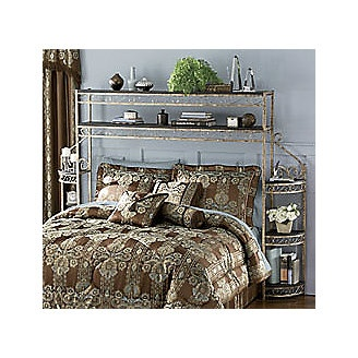 Scrolled Headboard With Shelves