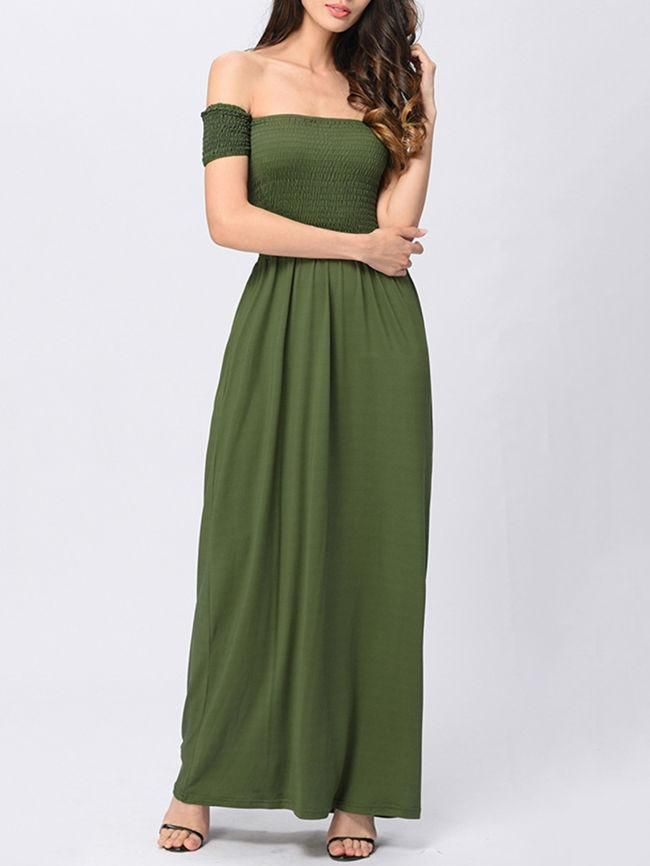 3c0b9d474e5 Casual Off Shoulder Smocked Bodice Solid Swing Maxi Dress in 2019 ...