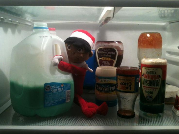 The elf turned everything upside down and the milk green