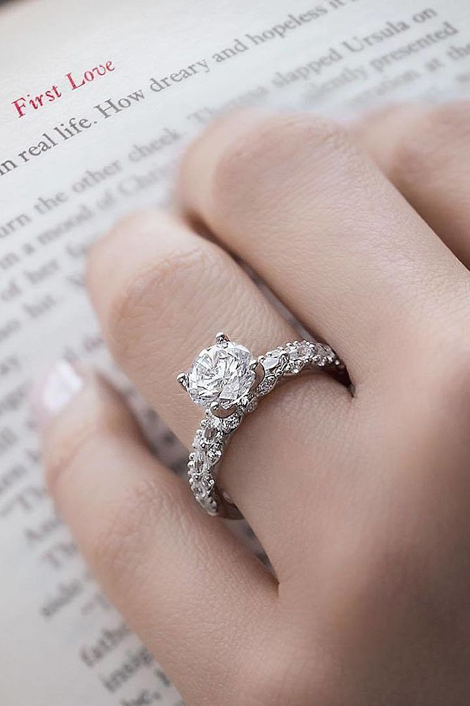Simple Engagement Rings For Girls Who Love Classic ❤️ simple engagement rings pave band white gold diamond ❤️ More on the blog: https://ohsoperfectproposal.com/simple-engagement-rings/