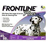 """Merial Frontline Plus Flea and Tick Control for 45 to 88-Pound Dogs and Puppies, 3-Doses  Merial Frontline Plus Flea and Tick Control for 45 to 88-Pound Dogs and Puppies, 3-Doses  """"not a fabric Imported Flea, flea egg, lice, and tick control for dogs and puppies 3-dose supply provides flea, flea egg, chewing lice, and tick relief for up to 3 months For all 45 to 88-pound dogs aged 8 weeks and older Easy 3-step application process Packaging may vary; includes limited Satisfaction Guarantee"""""""