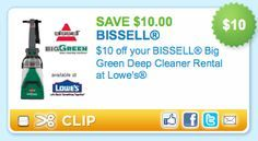 Lowes: $10 Off Big Green Deep Cleaner Rental = $14.99 a Day! - Raining Hot Coupons