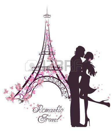 Flitterwochen und romantische Reise. Gl�ckliche junge Paar k�ssen Liebhaber vor Eiffelturm, Paris, Frankreich. photo