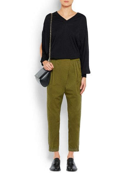 Givenchy - Tapered Pants In Silk-trimmed Army-green Cotton-twill - Army green - FR34