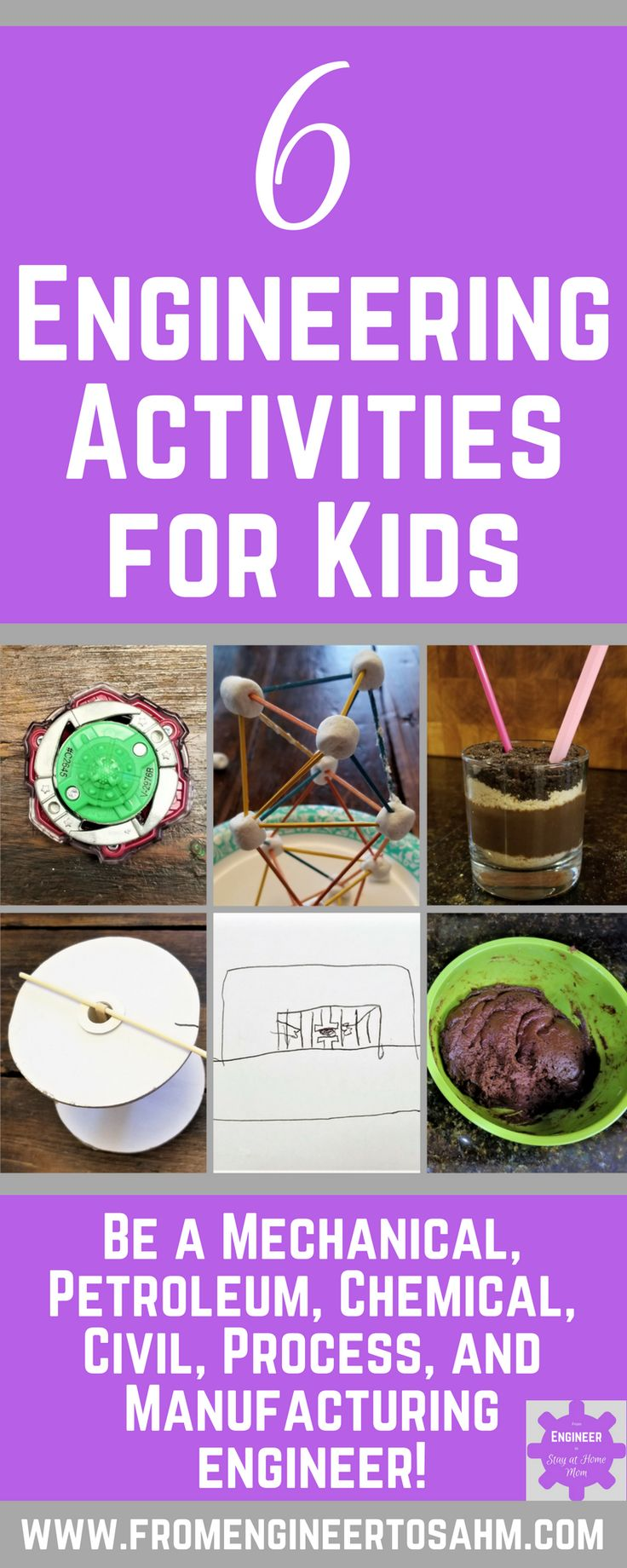 6 Engineering Activities for Kids to explore being 6 different types of Engineers!