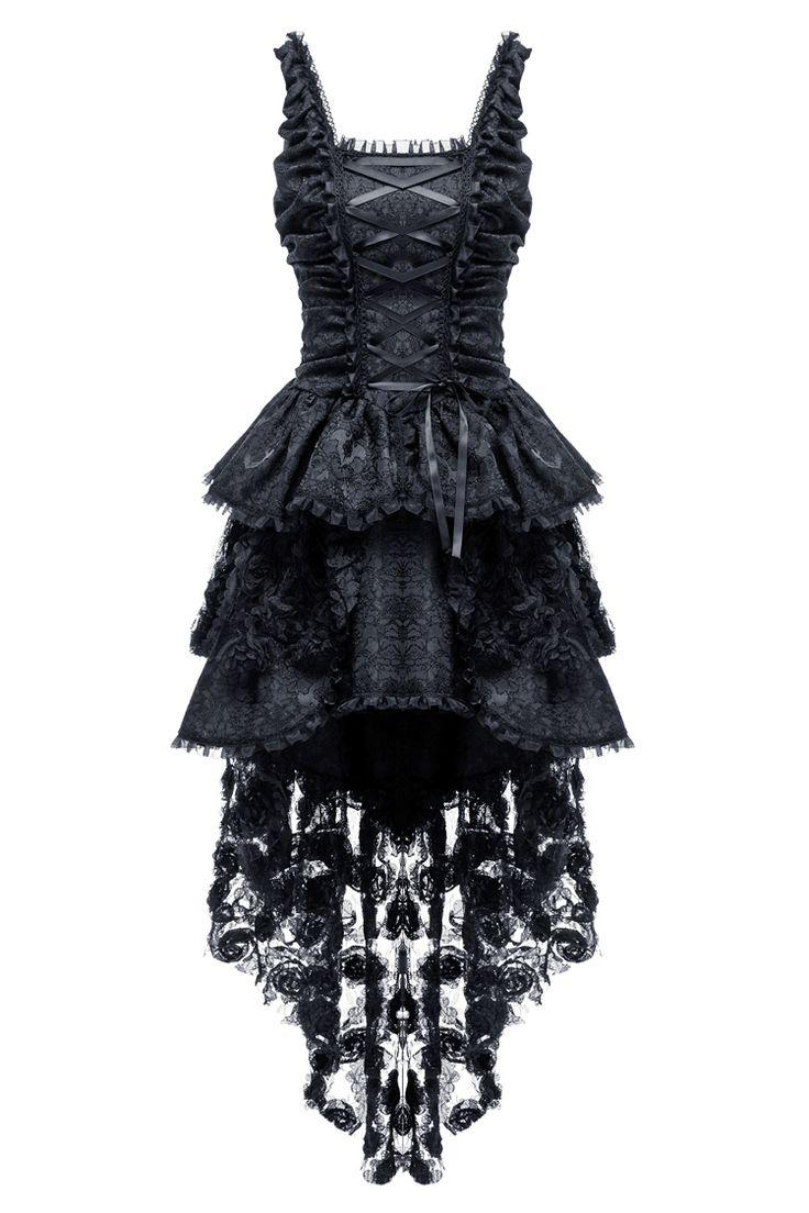 Asymetryczna elegancka gotycka czarna sukienka Victorian koronka, V-Kei