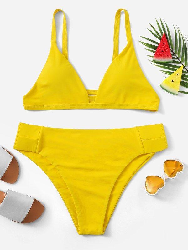 90cebfac864ff Yellow Nylon Plain Bikinis Cut Out Plus Size Swimwear.  Fashion  Womens   Clothes  Dresses  Accessories  Looks  Style  Beauty  Kids