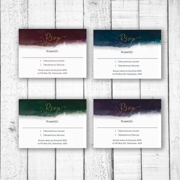 Luxe Watercolour RSVP Card - size  A6 105 x 148mm (Recommended size for RSVP) OR   A5 148 x 210mm  colours & fonts   Most colours and all fonts can be changed upon request to achieve a truly personal menu for your special day.  printing   Please note there is a minimum of 24 physically printed event stationery items for each design. If you choose less than 24 you will either be required to pay the difference before the design process is started or you will be refunded your full order amount.