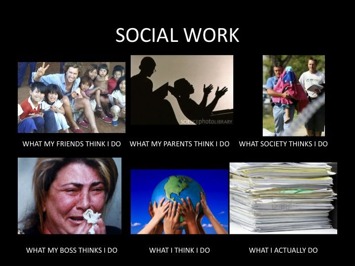 That meme with six pictures for social workers