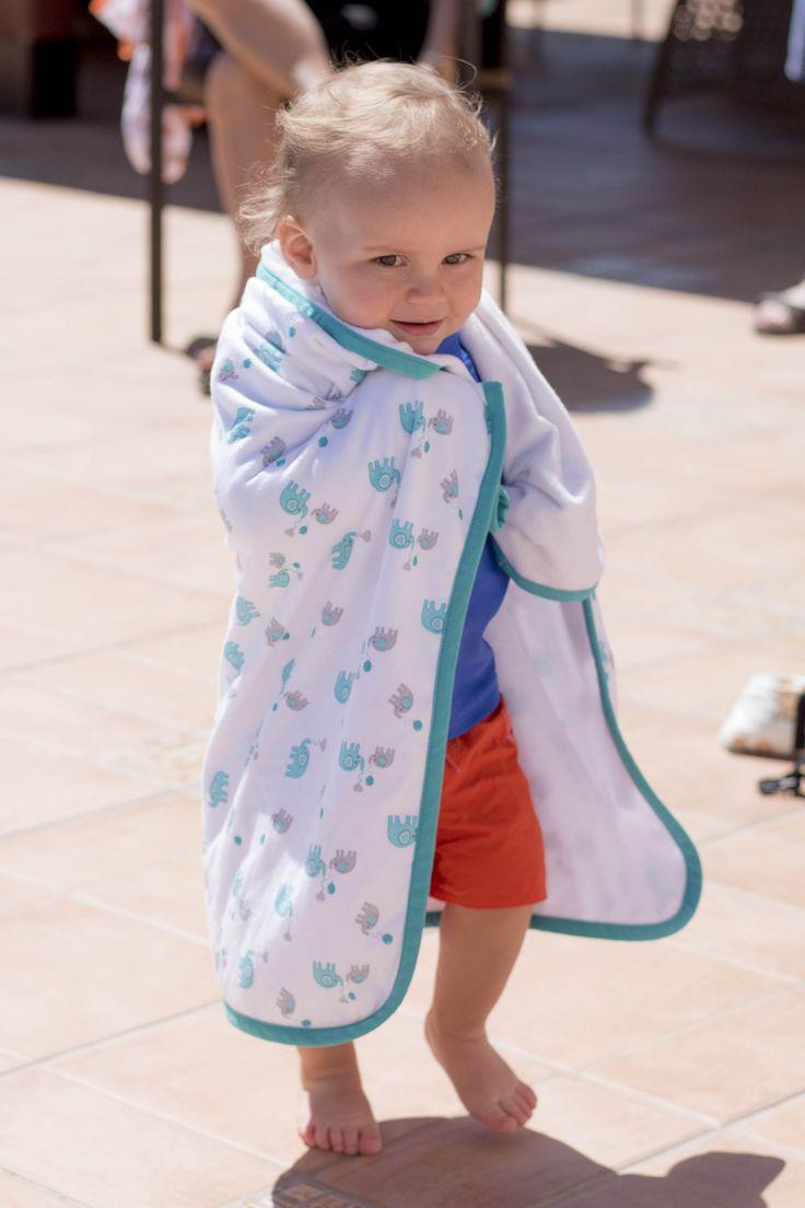 Baby Hooded Bath Towel Blue Elephant This baby hooded bath towel features a gorgeous all-over blue elephant print design and is super soft on babies' sensitive skin.  #babytowel #bathtime #elephanttheme
