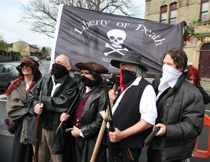 Members of the 'Fraid Not Society at the unveiling of a statue commemorating the Luddites in Liversedge on 14th April 2012