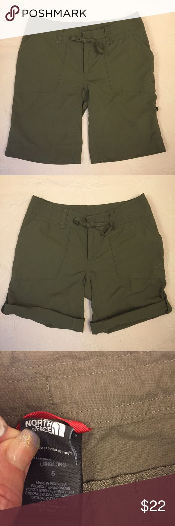The North Face women's brown shorts size 6 tall The North Face women's brown shorts size 6 tall. These shorts are perfect for hiking and have buttons to roll and button up as seen in 2nd photo. Two front hand pockets, two back buttoned pockets and one inside stow pocket. The North Face Shorts