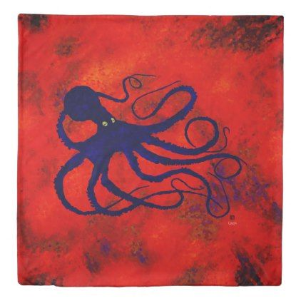 Octopus On Red (Front) - Queen Size Duvet Cover  $214.07  by inkgoeswildalaska  - cyo diy customize personalize unique