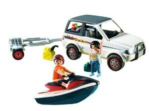 Playmobil Family SUV with Personal Watercraft by PLAYMOBIL. $19.99. Enjoy some fun in the sun with the Family SUV. Figures can bend, sit, stand and turn their heads. Includes SUV, personal watercraft, trailer, two figures, gas tank, food, and other accessories. Personal watercraft floats on water. Playmobil is the largest toy manufacturer in Germany. From the Manufacturer                Playmobil Family SUV with Personal Watercraft: Enjoy some fun in the sun and wave-riding with ...