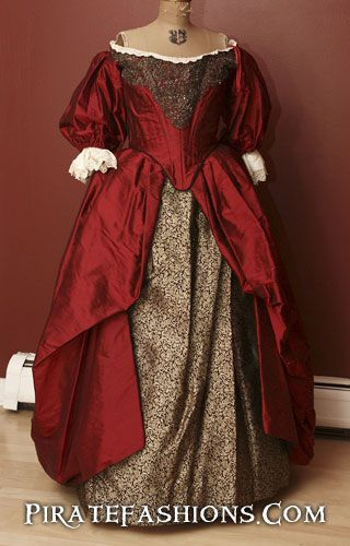 Beautiful Red Silk Gown from the 1660 time period.  White wedding dresses didn't become popular until about 1880s.