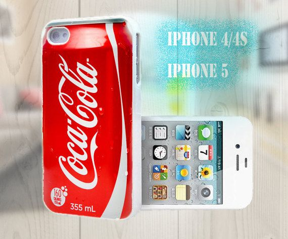 unique iphone case, i phone 4 4s 5 case,cool cute iphone4 iphone4s 5 case,stylish plastic rubber cases cover, funny red cocacola p1007 via Etsy
