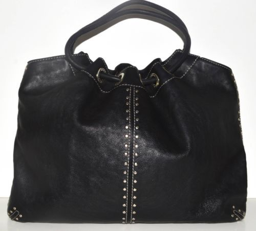 8df78b8c8b19 MICHAEL KORS XL Black Leather Astor Studded Grommet Ring Tote EUC RARE $398    eBaney's Unique Boutique   Michael kors, Black leather, Leather