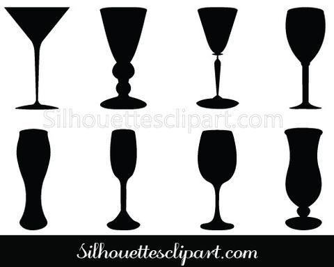 Wine Glass Silhouette Vector Beverage Glasses