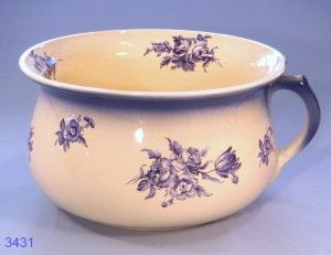 Blue and White Floral Vintage Ironstone Chamber Pot