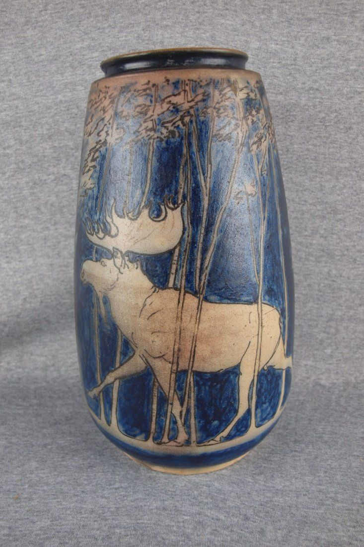 75 best pottery images on pinterest ceramic art porcelain and rare russell crook large form stoneware vase with forest scene and family of moose reviewsmspy