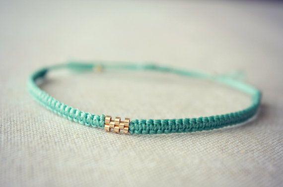 8 Bead Gold Weave / Teal Macrame Bracelet by Riemke on Etsy, $30.64