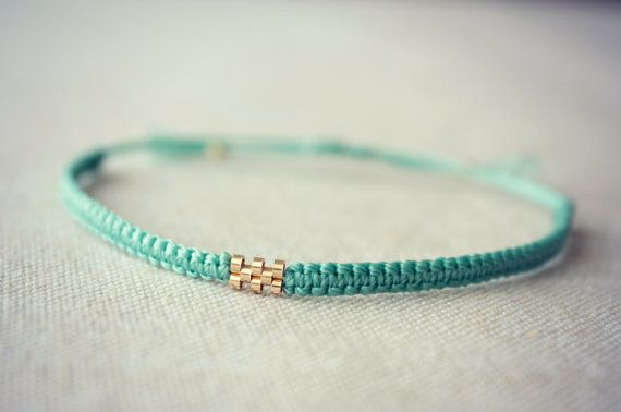 8 Bead Gold Weave / Teal Macrame Bracelet by Riemke on Etsy, $30.64