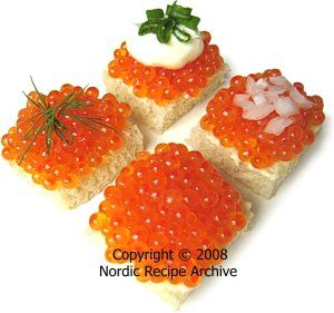 Finnish Fish Roe  Rainbow trout roe canapés Fish roe is a great delicacy and an indispensable part of Finnish Christmas cuisine.