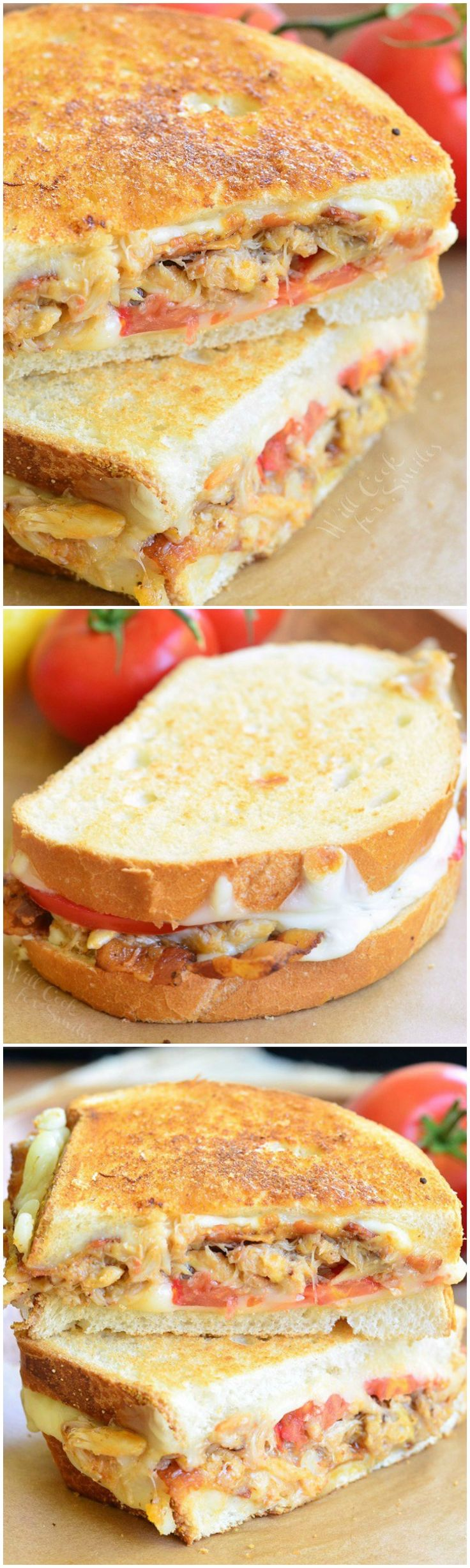 Tomato, Bacon and Crab Grilled Cheese. Finger-licking sandwich created just for SEAFOOD lovers. All your DELICIOUS wishes came true! #sandwich