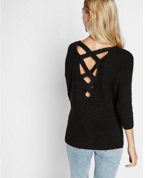 Crossback v-neck shaker knit sweater by Express on Shopstyle.