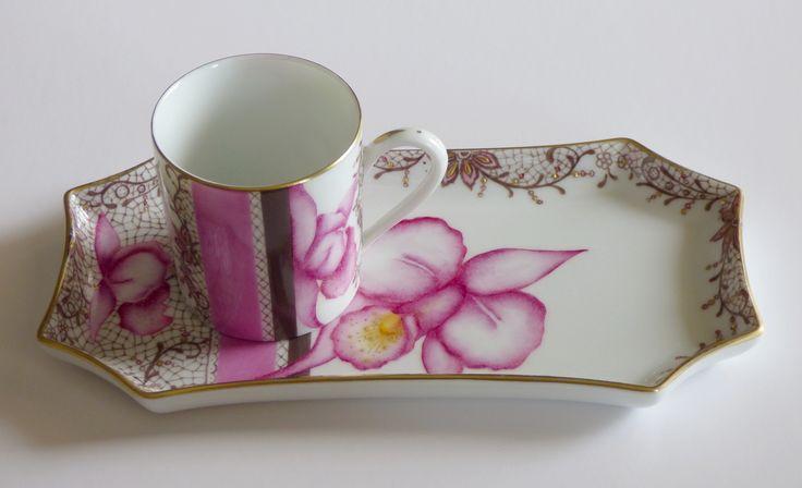 Café gourmand Précieuse orchidée Porcelaine de Limoges peinte à la main