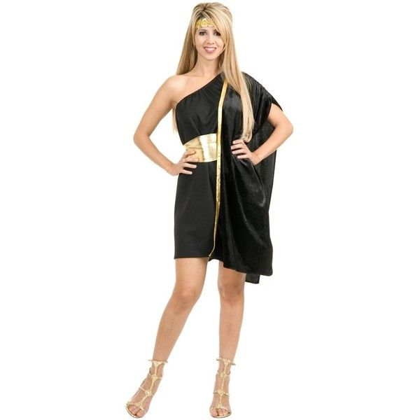Adult Dark Side Grecian Toga ($36) ❤ liked on Polyvore featuring costumes, halloween costumes, multicolor, black toga costume, adult costume, gold costume, toga party costume and adult toga costume
