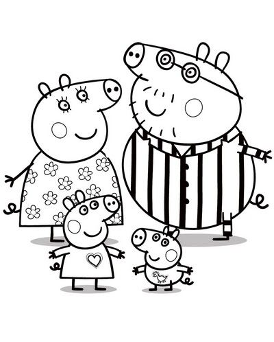 peppa pig colouring pages for kids - Kids Colouring