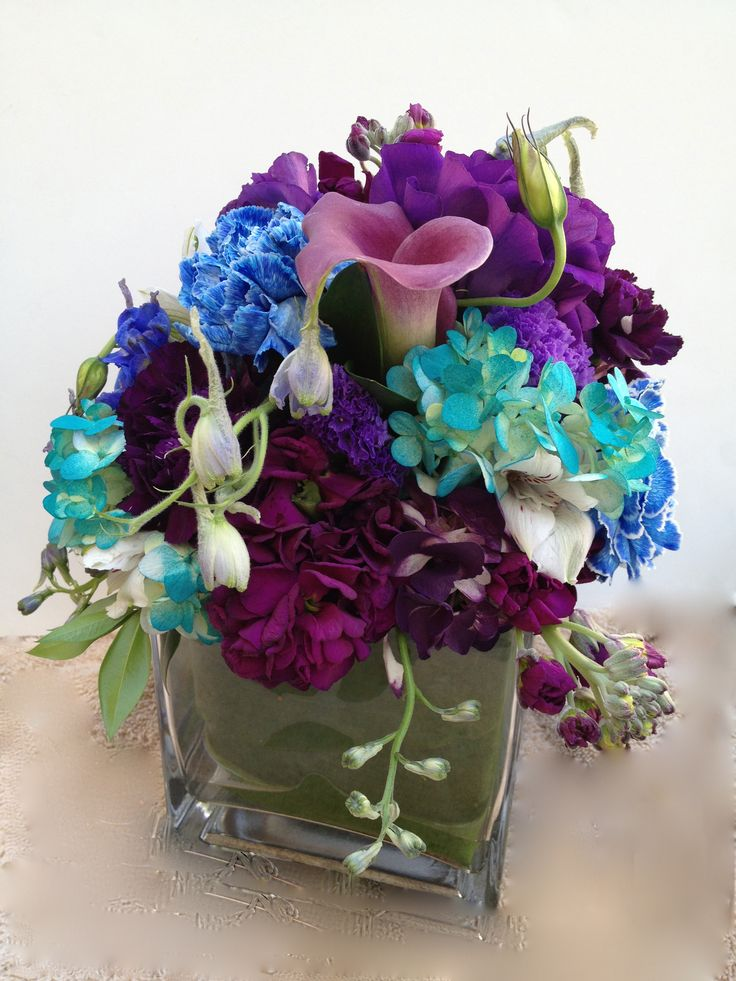 Wedding centerpiece purple blue and teal