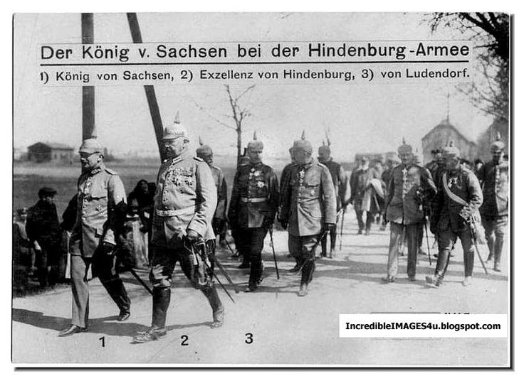 The King of Saxony with von Hindenburg and Ludendorf