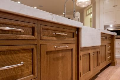 Wooden Country Kitchen Island With Marble Counter