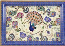 ASHDENE MEDIUM TRAY PEACOCK FANTASY- $13.95 - Aura Gift Box Peacock Fantasy Medium Tray. A beautiful tray!  Featuring peacocks and paisley patterning, this stunning new collection of fine bone china, coasters, placemats and trays is sure to impress. Peacocks Fantasy exudes both opulence and elegance, whilst still being a range that is both on trend and affordable