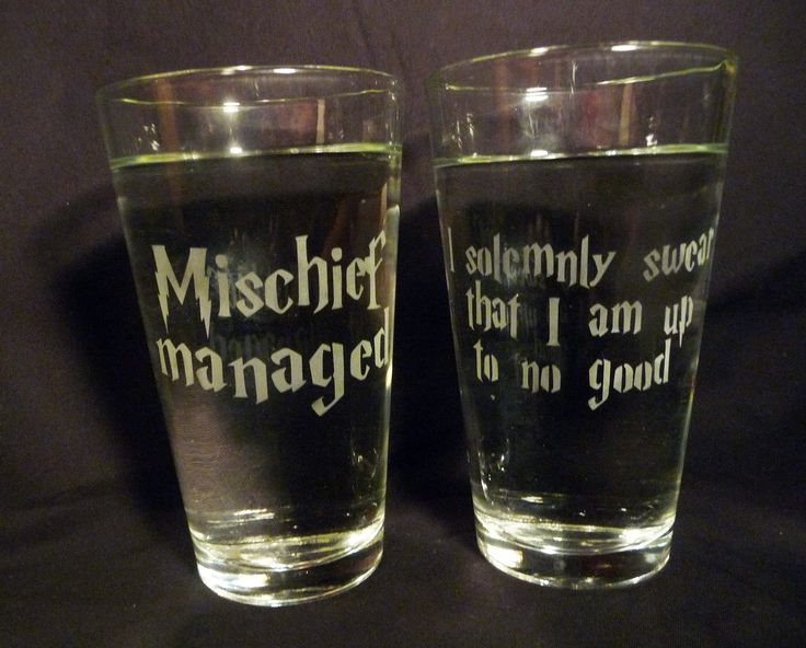 I solemny swear that I am up to no good/ Mischief managed- 16 oz Glasses-Set of 2.