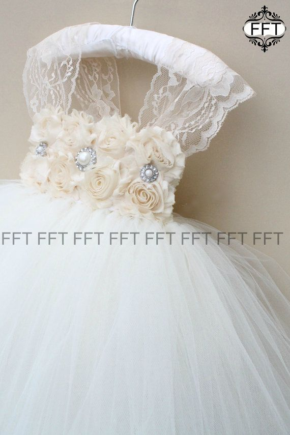 Champagne Lace Ivory Flower Girl Tutu Dress by FrillyFairyTales More