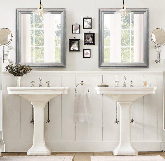 Pedestal Sink Bathroom, Brushed Nickel Framed Vanity Mirror