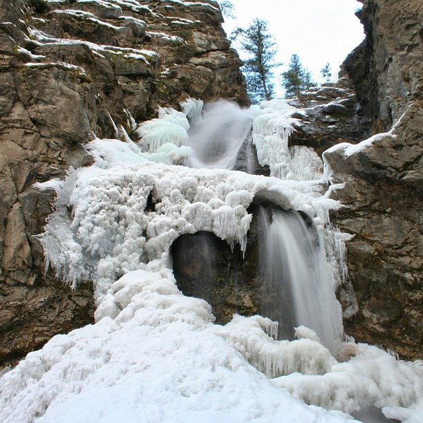 The frozen Fintry Falls near Kelowna, BC. ♥ Loved and pinned by www.ductworks.ca