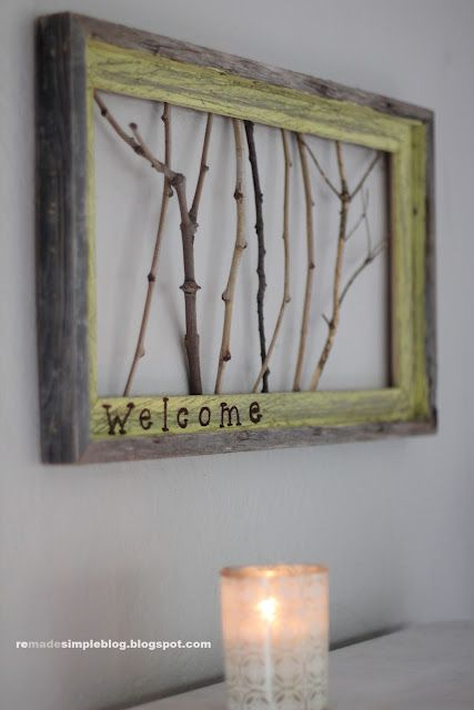 DIY Welcome sign with sticks