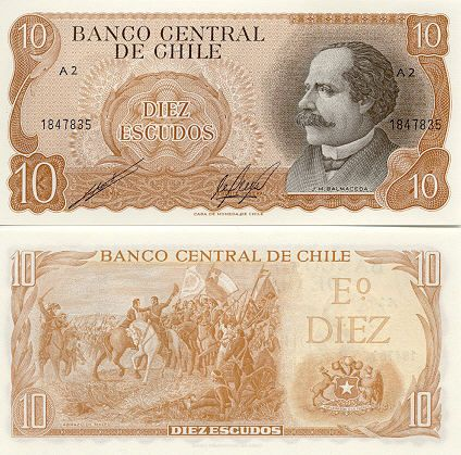Chile 10 Escudos (1967-76) Front: José Manuel Balmaceda Fernández - 11th President of Chile; Back: Embrace of Maipú - Abrazo de Maipú; Watermark: General Bernardo O'Higgins.
