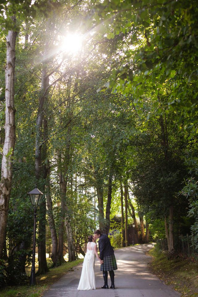 Banchory Lodge Wedding. Bride groom sunny woodland portraits. By Fotomaki Photography.