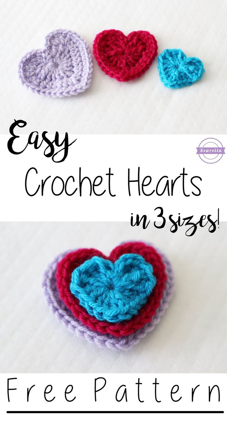 Easy Crochet Hearts in 3 sizes!   Free Pattern from Sewrella