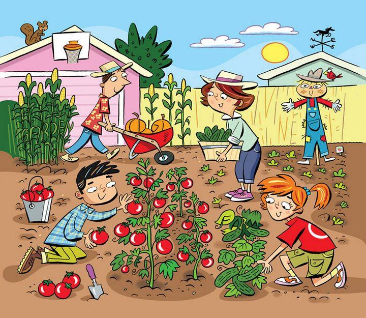 "Highlights Hidden Pictures Puzzles - Find 6 hidden words in ""Gardening fun."""