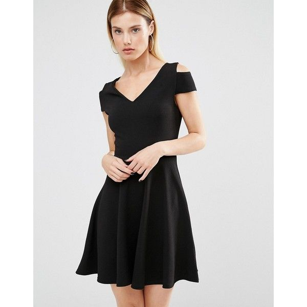 Club L Bardot Skater Dress With Cut Out Shoulder Detail (£23) ❤ liked on Polyvore featuring dresses, black, cutout shoulder dresses, club l dresses, cold shoulder skater dress, stretch dress and skater dress