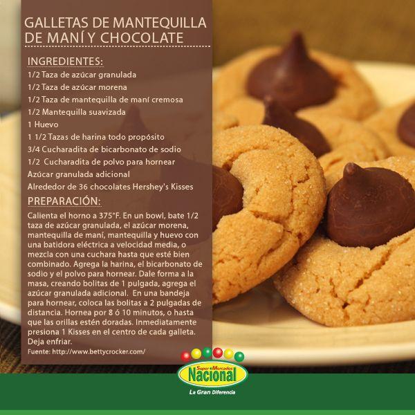 Galletas de Mantequilla de Maní y Chocolate Kisses.