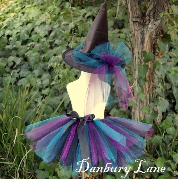 Witch Tutu costume and Witch Hat set